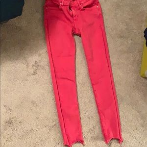 Hot Pink Ankle cropped Mid Rise Zara Jean Size 34